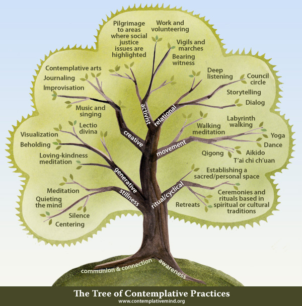 Click on The Tree of Contemplative Practices to learn more about a variety of practices