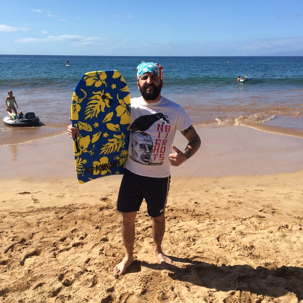 Boogie boarding in Wailea.