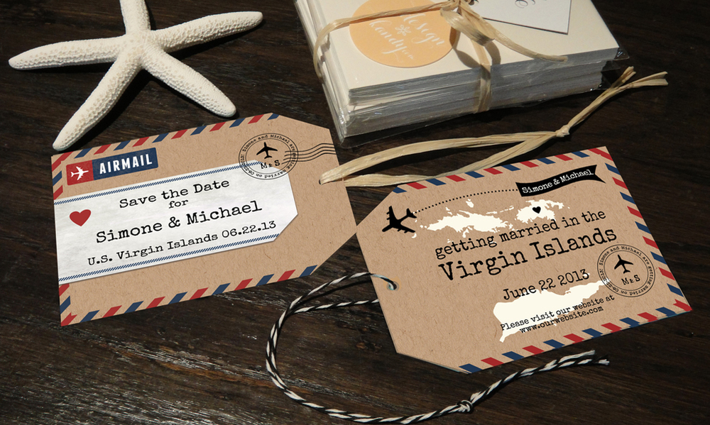 Airmail Luggage Tag Save the Dates