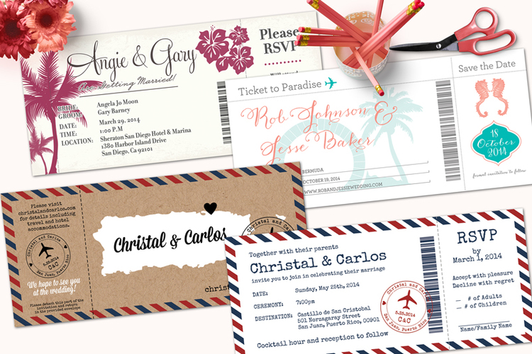 boarding pass wedding invitations with detachable rsvp cards designkandy