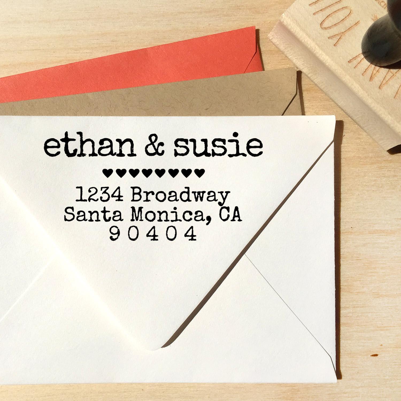 Typewriter Address Stamp with Hearts — designkandy