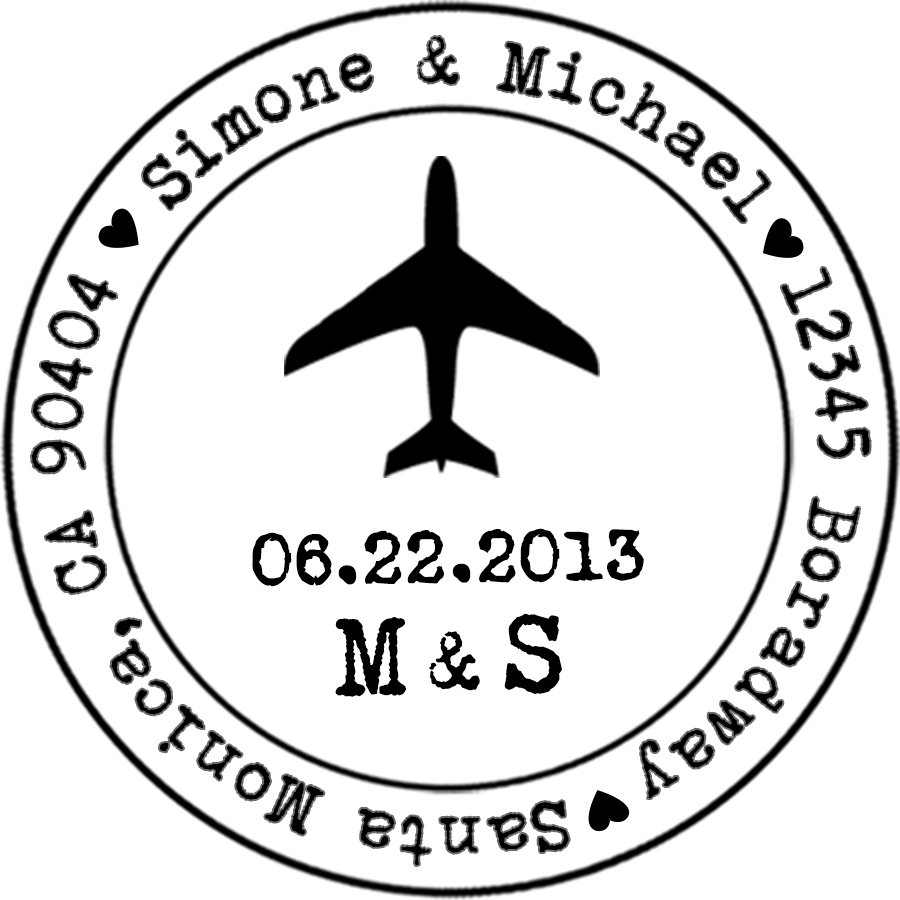 Airplane Stamp With Date Initials Designkandy