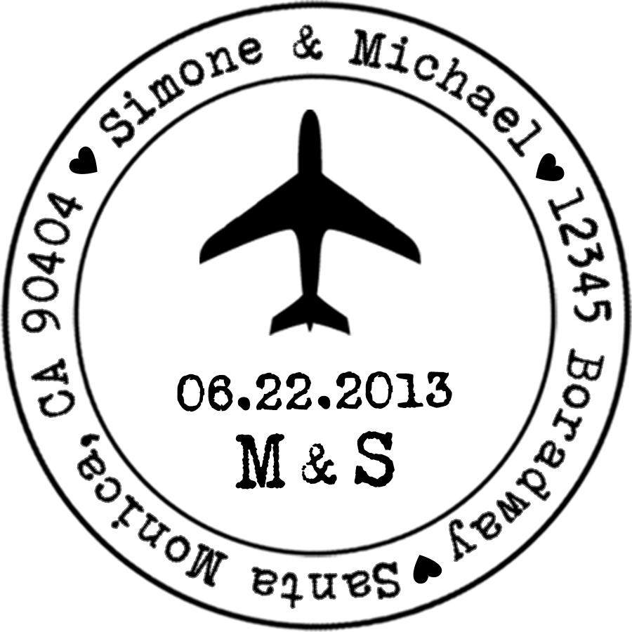 airplane stamp with date   initials  u2014 designkandy