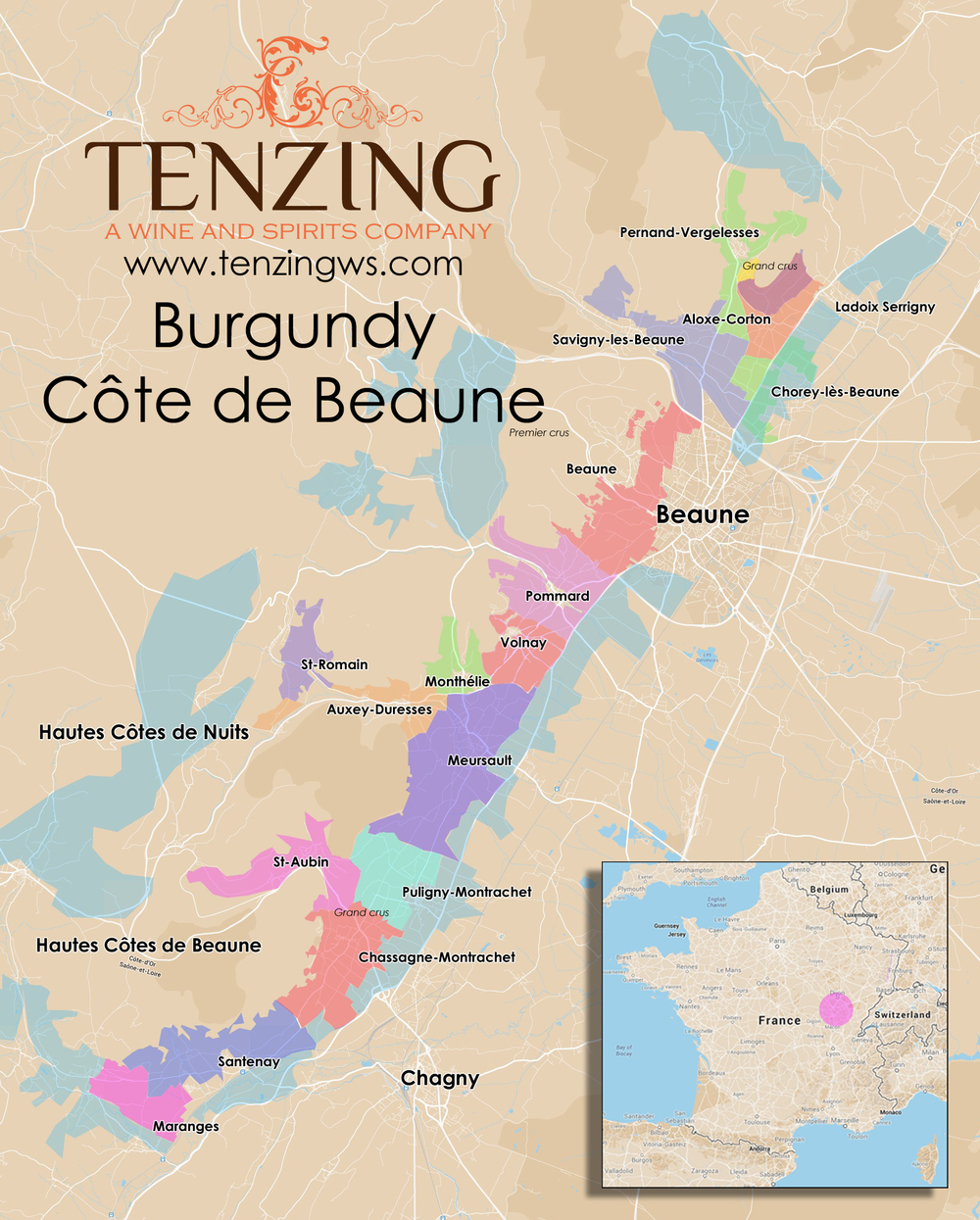 Burgundy Cote de Beaune Map