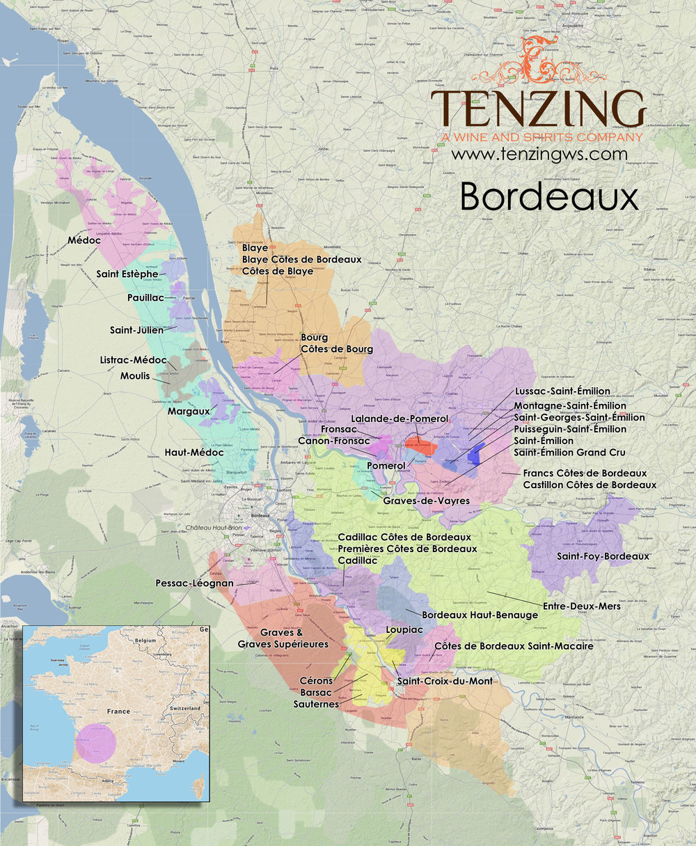 Map bordeaux in high res with every appellation contr l e for Bordeaux france