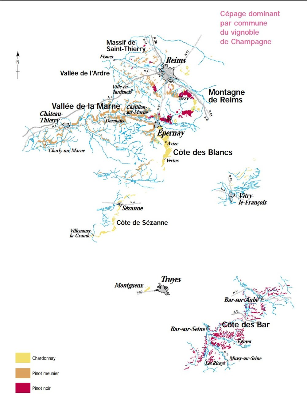 Maps of Champagne by grape plantings, 20 subregions and more ...
