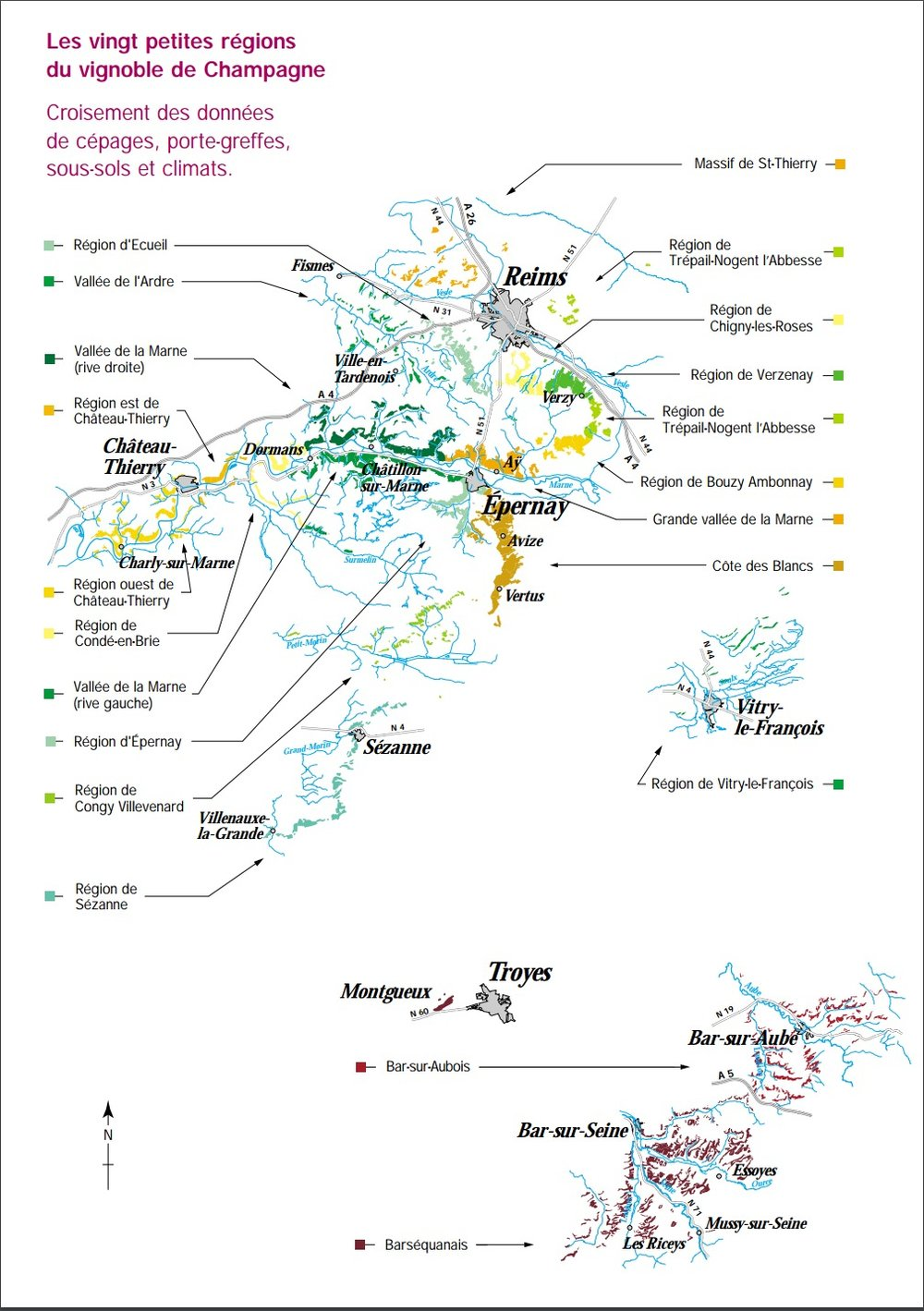 Maps of Champagne by g plantings, 20 subregions and more ... Champagne Region Map on