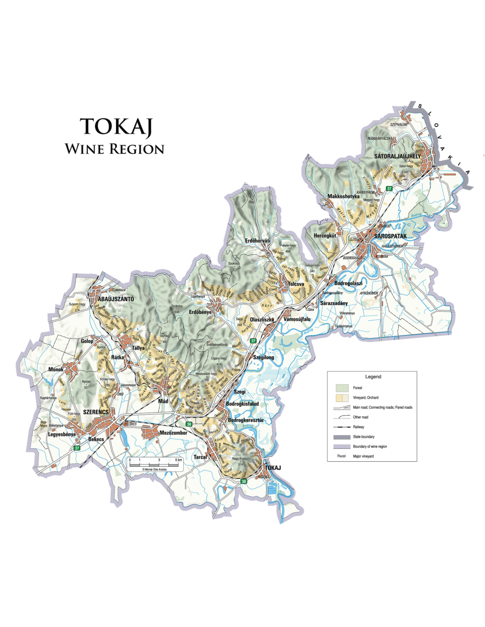 This map illustrates about 100 of Tokaj's 389 single vineyards. Map courtesy of cartographer András Ede Molnár.   © 2017 by András Ede Molnár