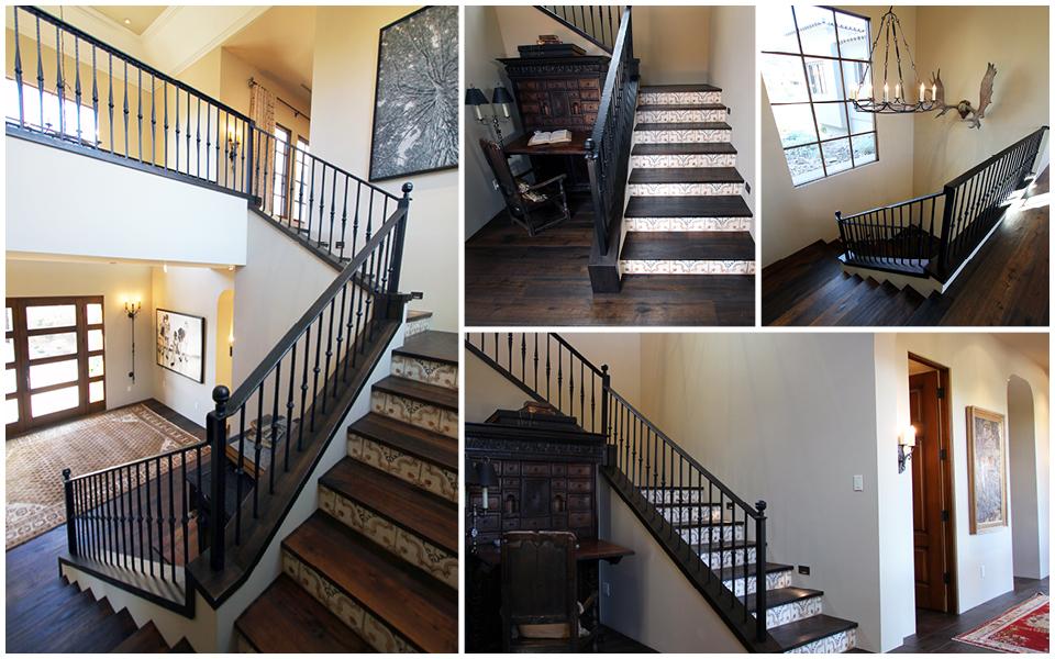 Stairway Wood Trim and Custom Iron Handrail