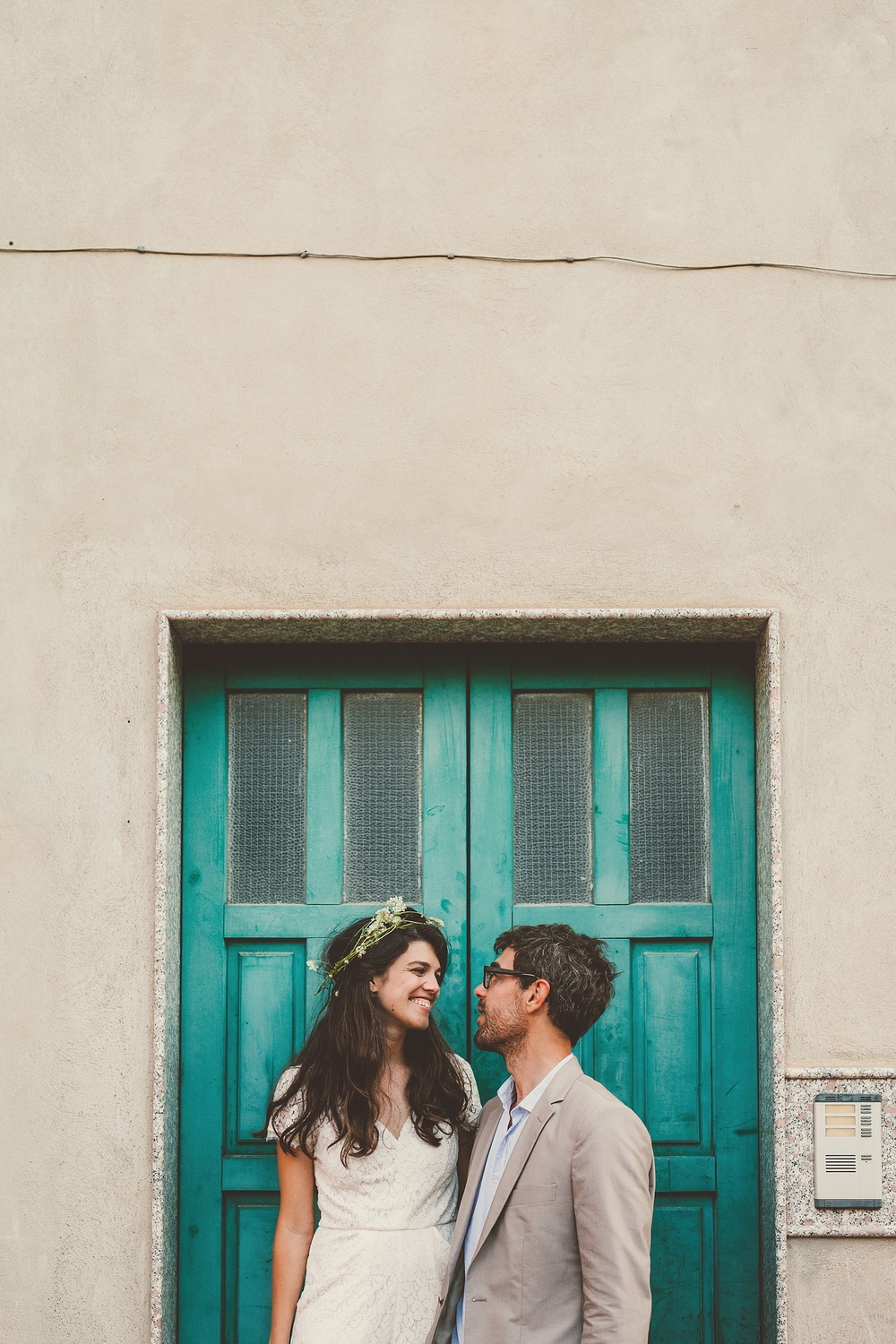 Wedding Photography Carly Romeo Photography Richmond VA Aidone Sicily Italy Teal Door Couple Portrait Wreath