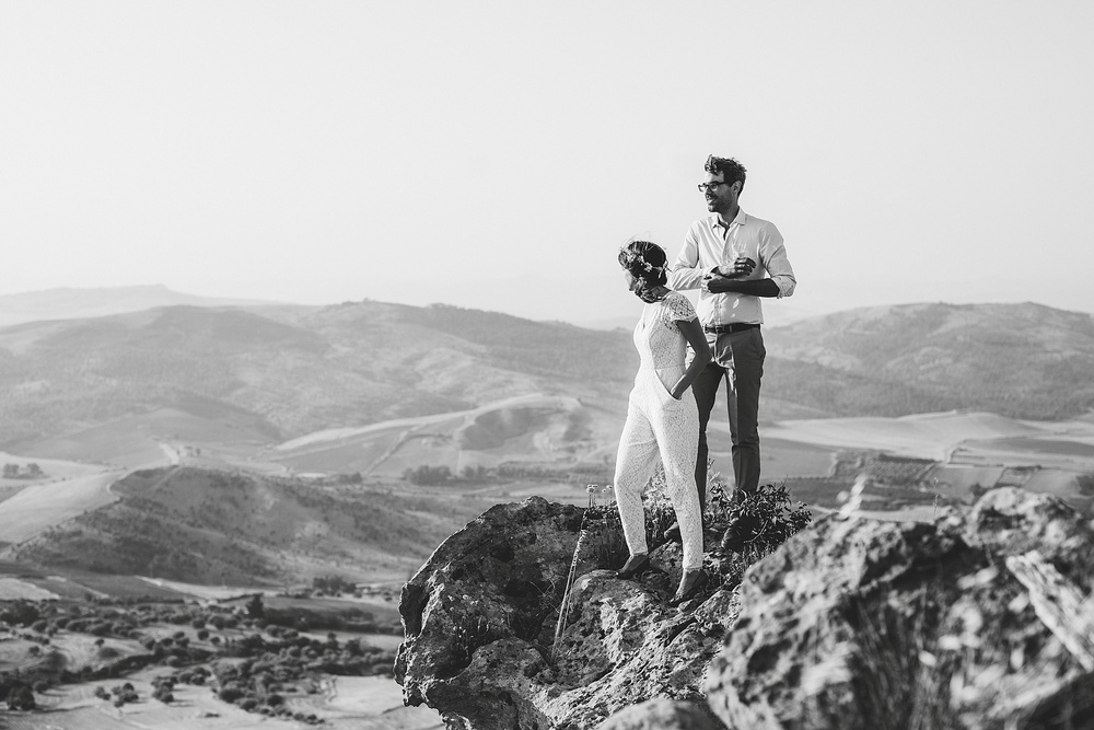 Wedding Photography Carly Romeo Photography Richmond VA Aidone Sicily Italy Black and White Hike Elopement Ceremony Cliff