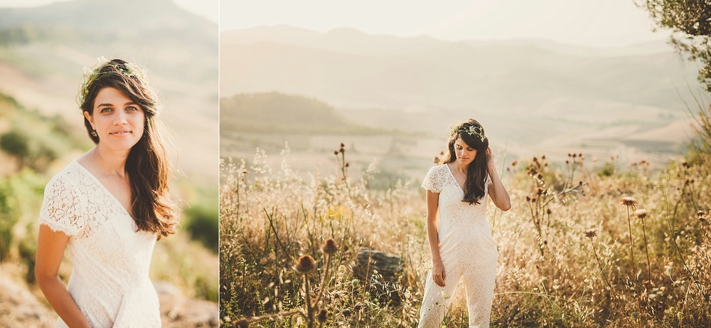 Wedding Photography Carly Romeo Photography Richmond VA Aidone Sicily Italy Bride Portrait Floral Garland Pant Suit Lace Sunset