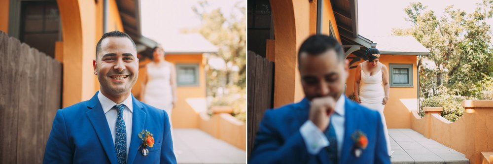 Feminist Wedding Photography Carly Romeo Photography Richmond VA Destination Altadena California First Look
