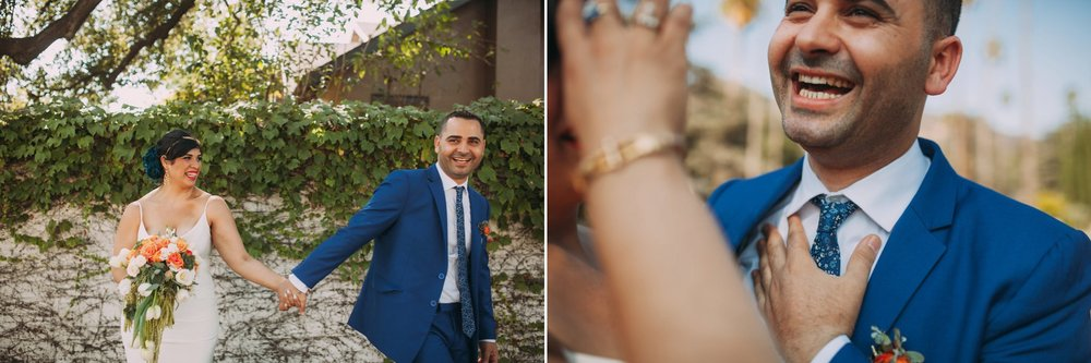 Feminist Wedding Photography Carly Romeo Photography Richmond VA Destination Altadena California Couple Laugh