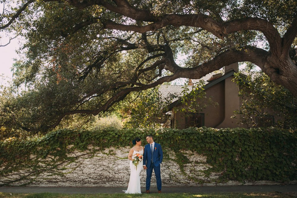 Feminist Wedding Photography Carly Romeo Photography Richmond VA Destination Altadena California Couple Portrait Moss Tree Wall