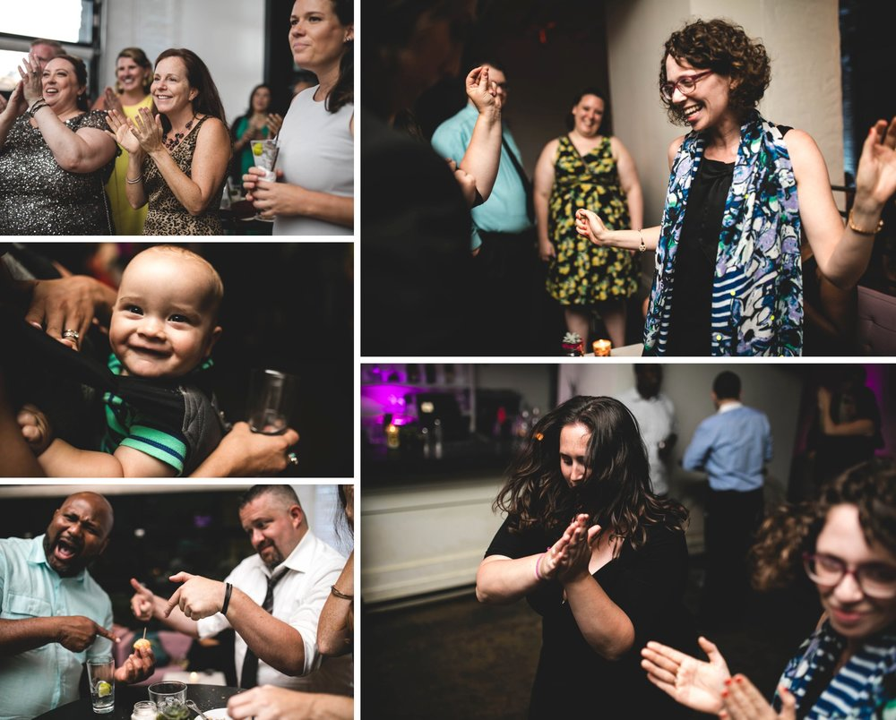 Feminist Wedding Photography Carly Romeo Photography Richmond VA Washington DC Queer Women LGBTQ Reception Family Dancing Baby