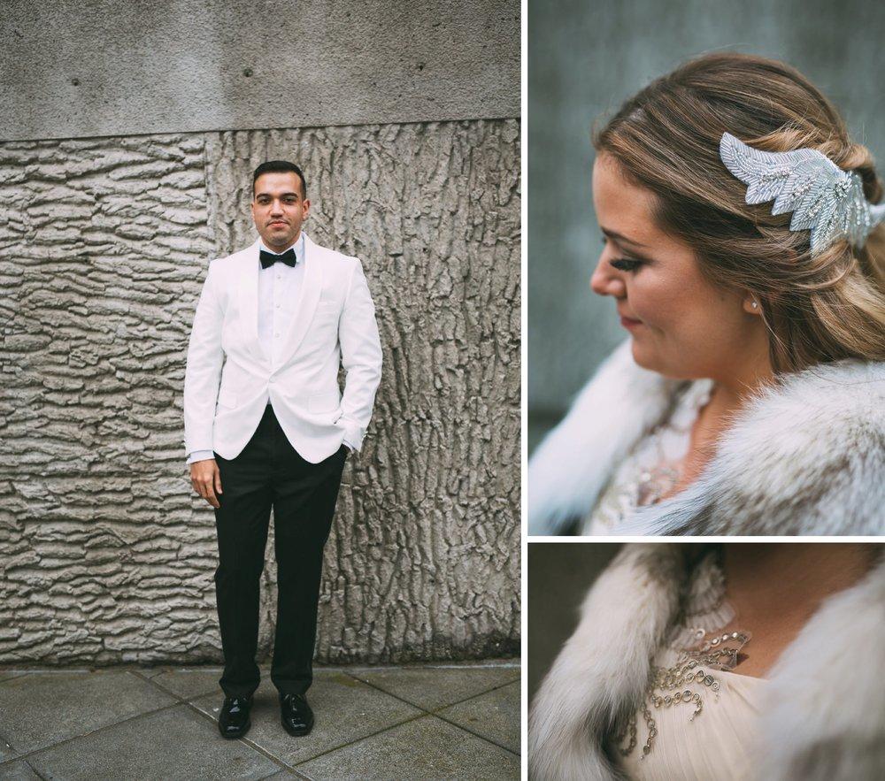New Year's Eve Feminist Brazilian Wedding Photography Seattle Washington Carly Romeo Photography Richmond VA Couple Details Hair Fur Tuxedo Club Seattle