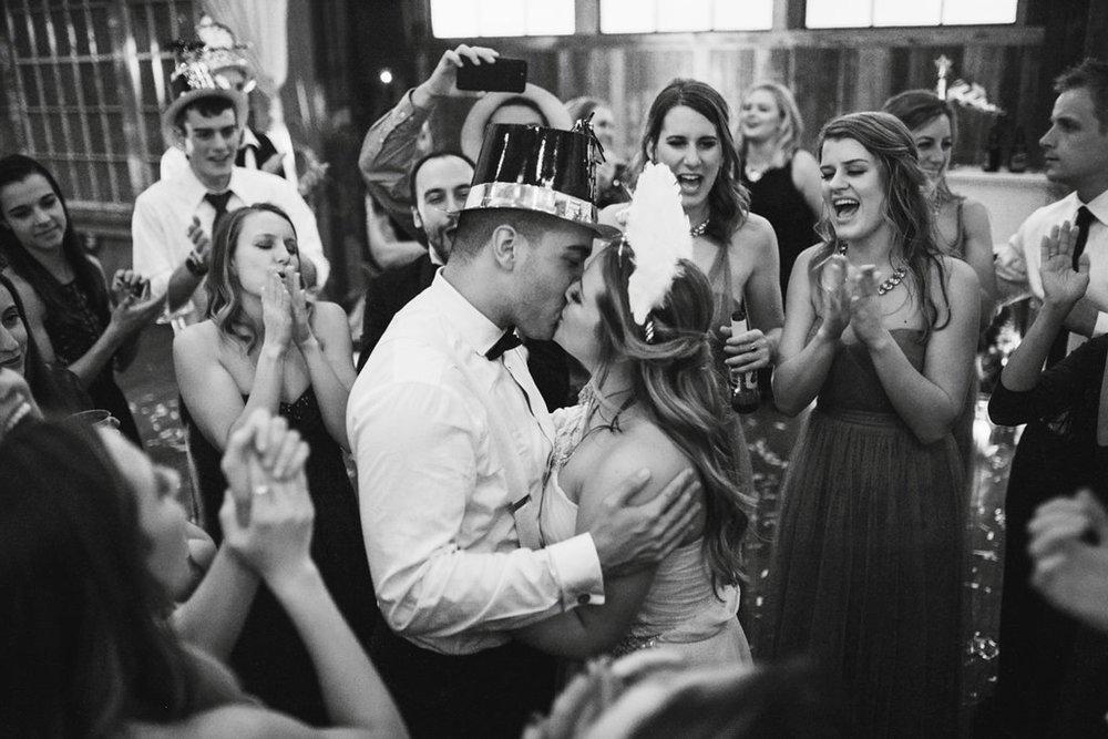 New Year's Eve Feminist Brazilian Wedding Photography Seattle Washington Carly Romeo Photography Richmond VA NYE Kiss Couple Black and White
