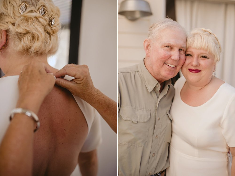 October Jewish lesbian wedding at Foxfire Mountain House in Upstate New York. Portrait with Father of the Bride.