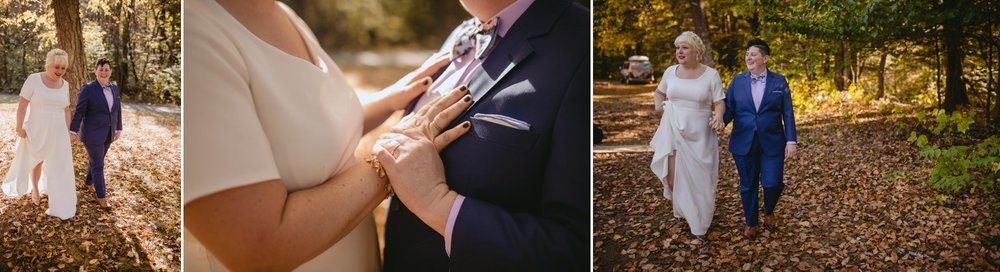 October Jewish lesbian wedding at Foxfire Mountain House in Upstate New York