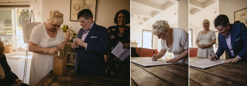 October Jewish lesbian wedding at Foxfire Mountain House in Upstate New York. Ketubah Signing.