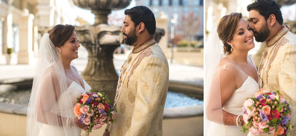 Washington DC colorful Indian wedding with a feminist bride. Outdoor portrait.