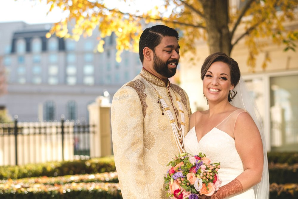 Washington DC colorful Indian wedding with a feminist bride. Autumn portrait.