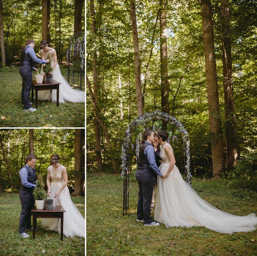 Richmond Va same-sex wedding in pocahontas state park with a simple ceremony. Tree planting.