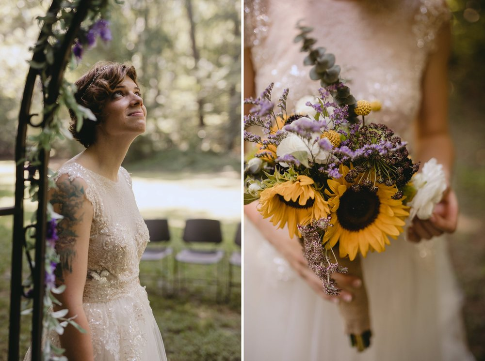 Richmond Va same-sex wedding in pocahontas state park with a simple ceremony. Florals.