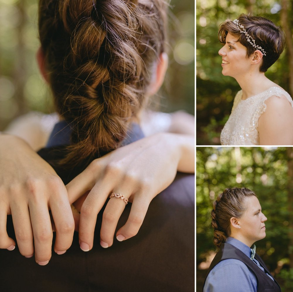 Richmond Va same-sex wedding in pocahontas state park with a simple ceremony. Close-ups.