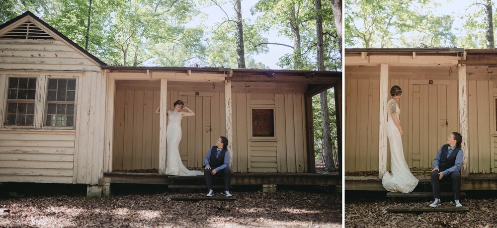 Richmond Va same-sex wedding in pocahontas state park with a simple ceremony. Rustic cabin hideaway.