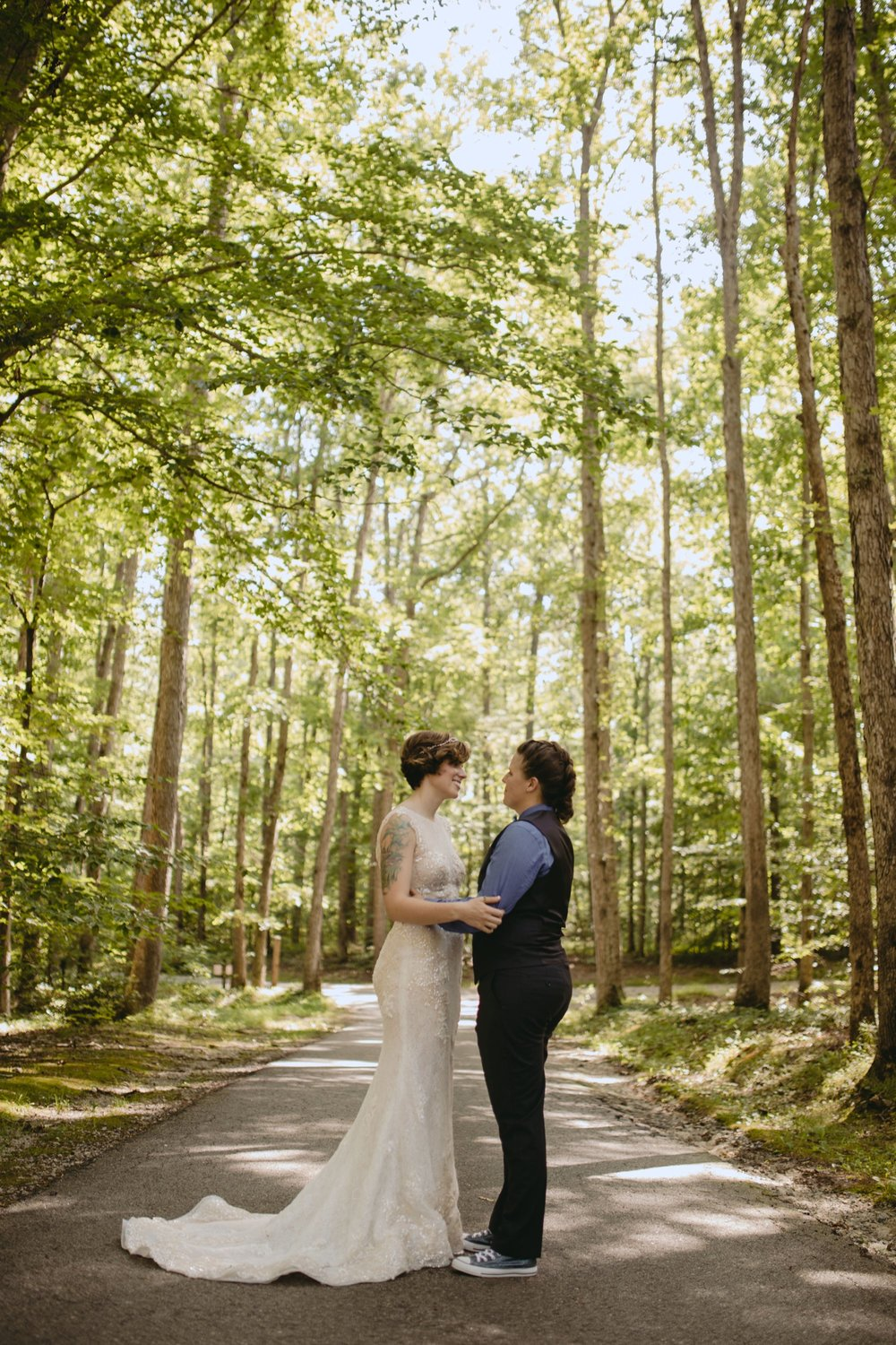 Richmond Va same-sex wedding in pocahontas state park with a simple ceremony. Forest portrait.