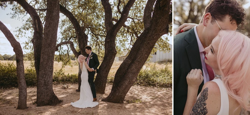 Bride with pink hair and groom in a purple suit prospect house wedding in austin tx with pastel decor and wild florals couple portraits