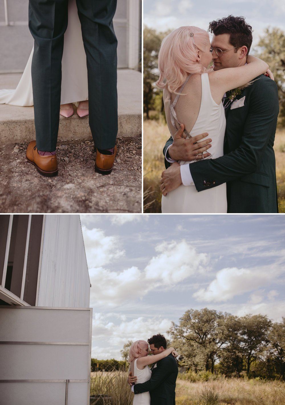 Bride with pink hair and groom in a purple suit prospect house wedding in austin tx with pastel decor and wild florals first look