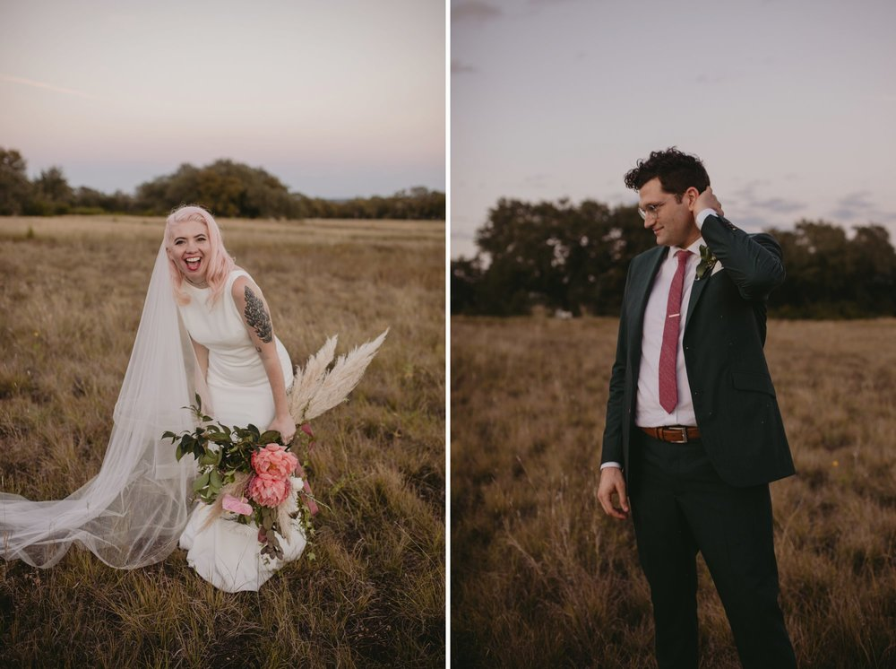 Bride with pink hair and groom in a purple suit prospect house wedding in austin tx with pastel decor and wild florals individual portraits
