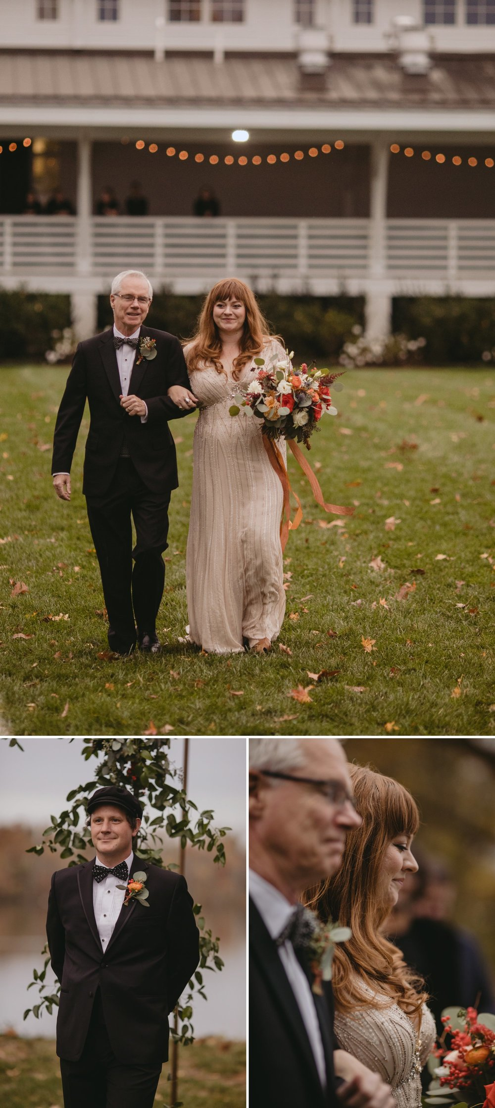 Autumn Richmond VA winery wedding at Upper Shirley Vineyards with lush garden florals and old Hollywood glamour bride down the aisle