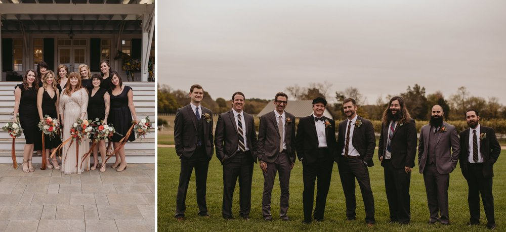 Autumn Richmond VA winery wedding at Upper Shirley Vineyards with lush garden florals and old Hollywood glamour bridal party