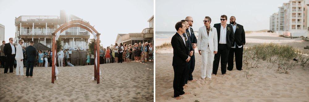 Low key backyard beach wedding in Sandbridge, VA wedding arch