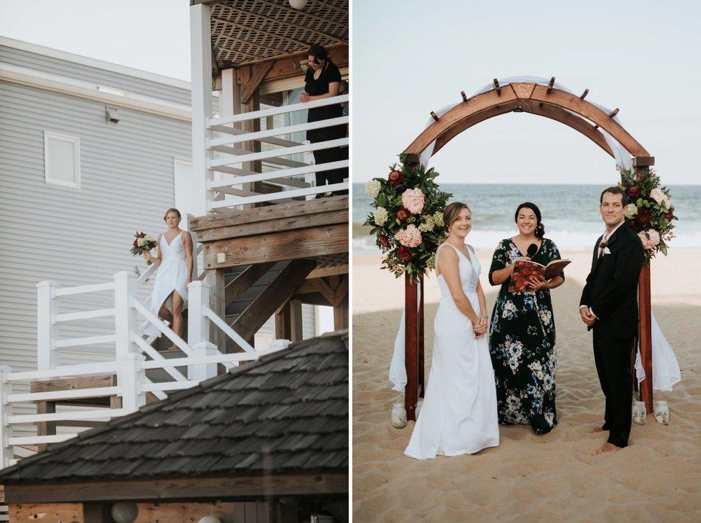 Low key backyard beach wedding in Sandbridge, VA processional
