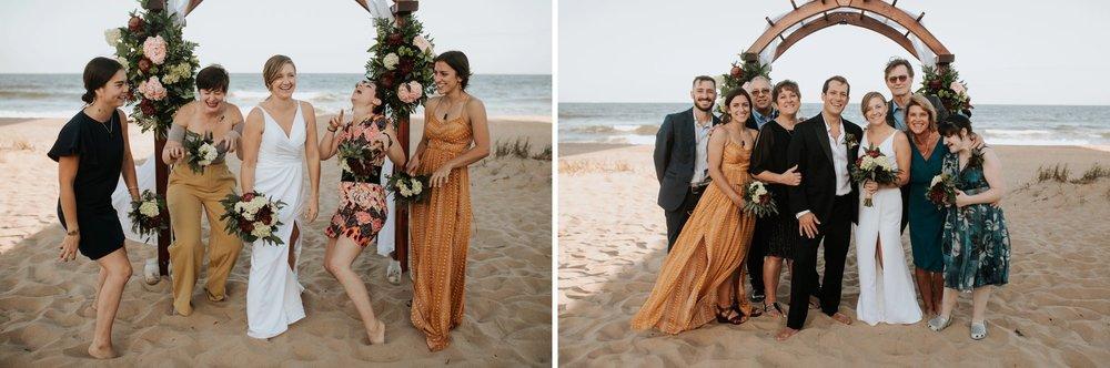 Low key backyard beach wedding in Sandbridge, VA wedding party