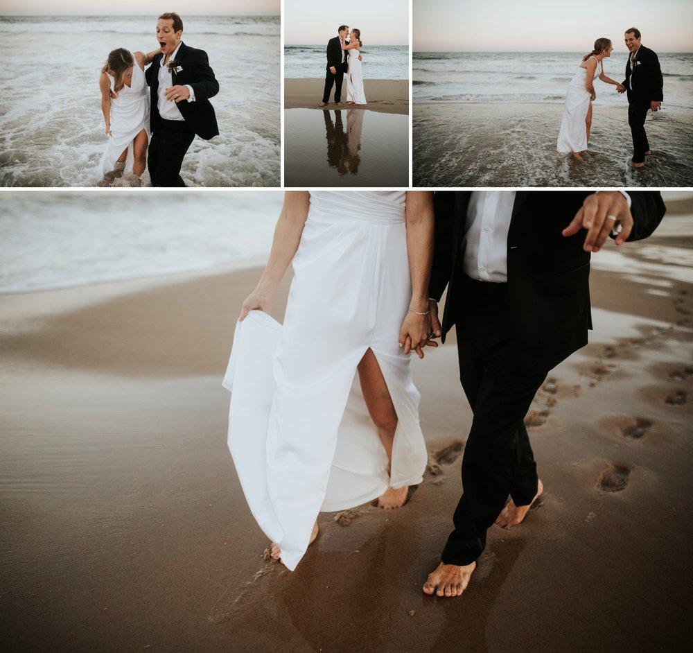 Low key backyard beach wedding in Sandbridge, VA walk in the surf
