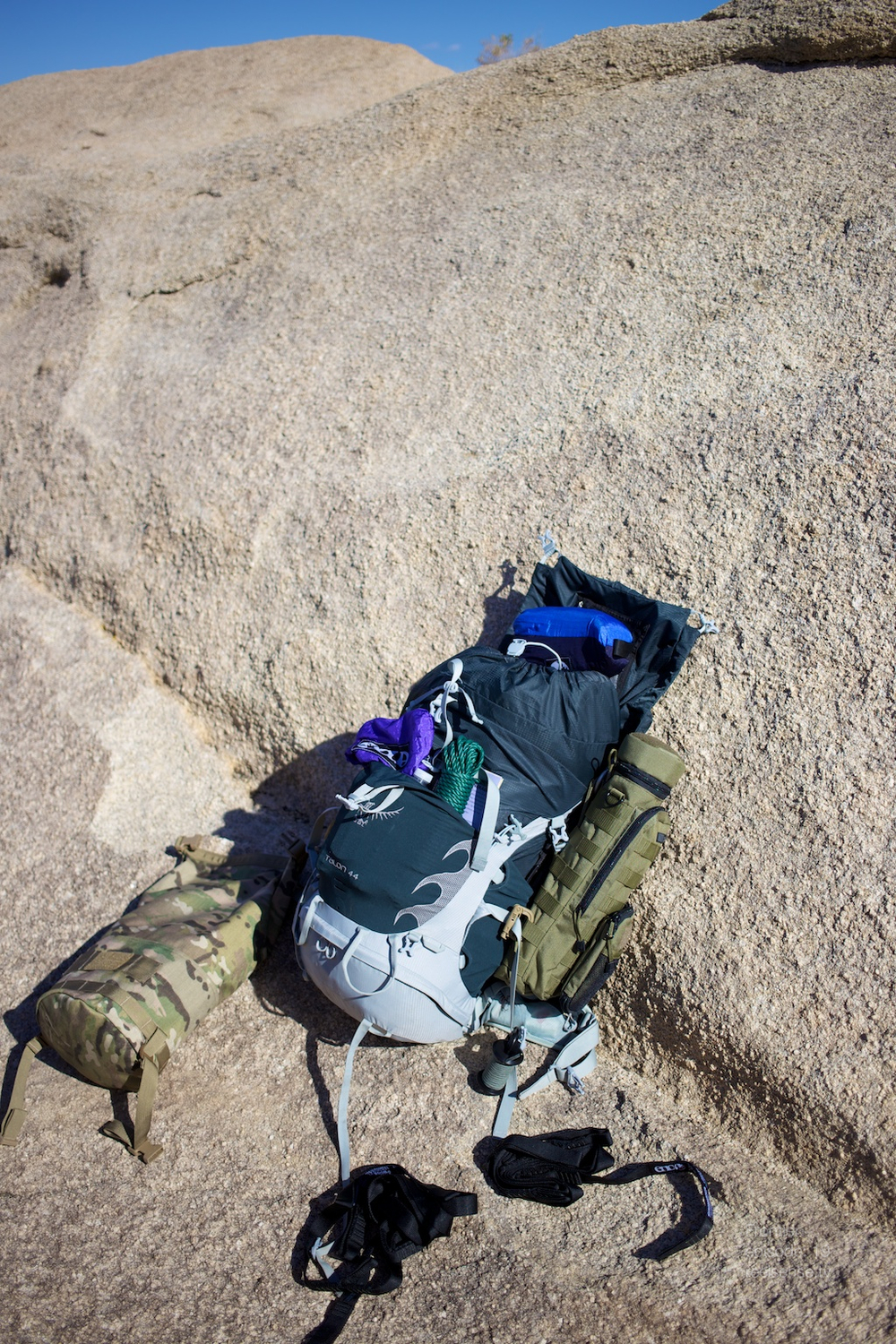 Joshua Tree - Osprey Talon 44 open on the rocks with GORUCK Brickbag