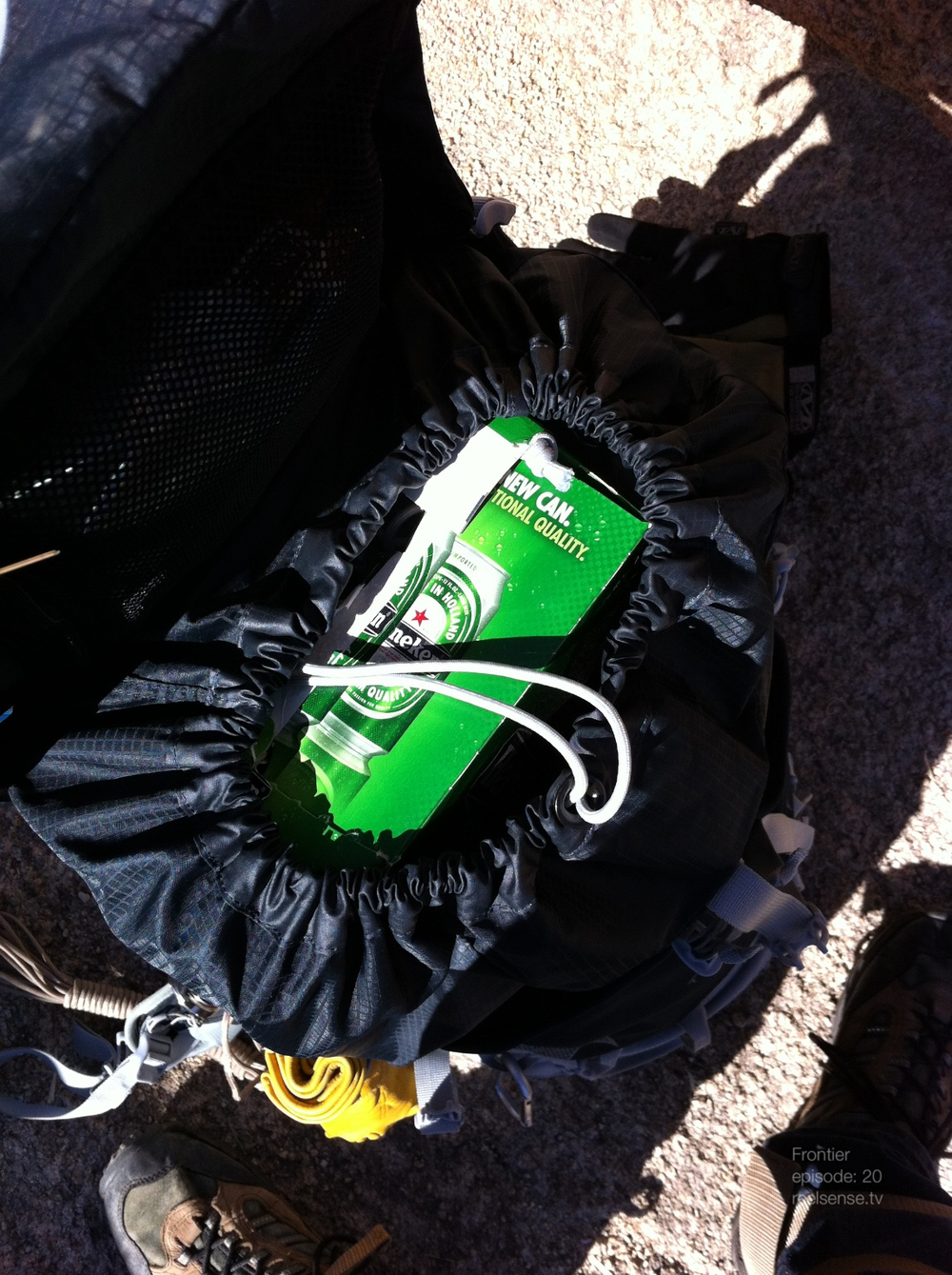 Joshua Tree - 12 pack of Heineken in backpack