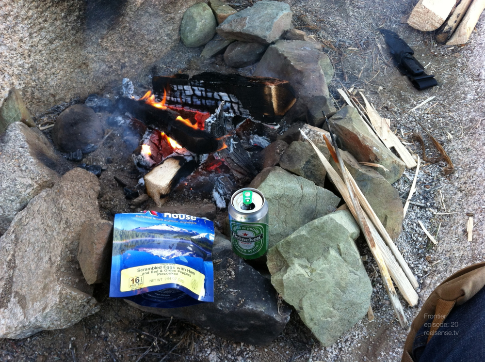 Joshua Tree - Boiling coffee in a Heineken can over open fire