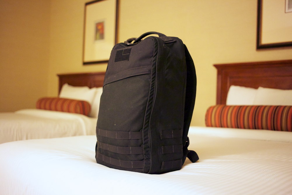 GORUCK GR1 on hotel bed