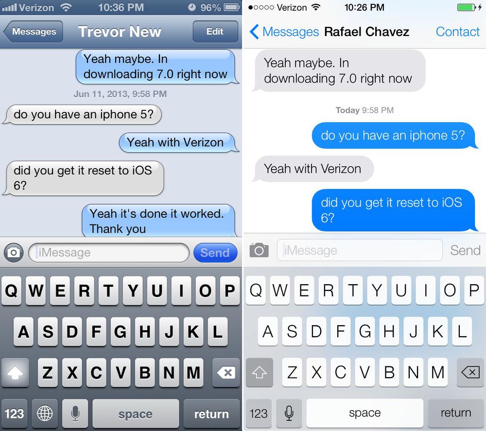 Messages app comparison - IOS 6 vs. iOS 7