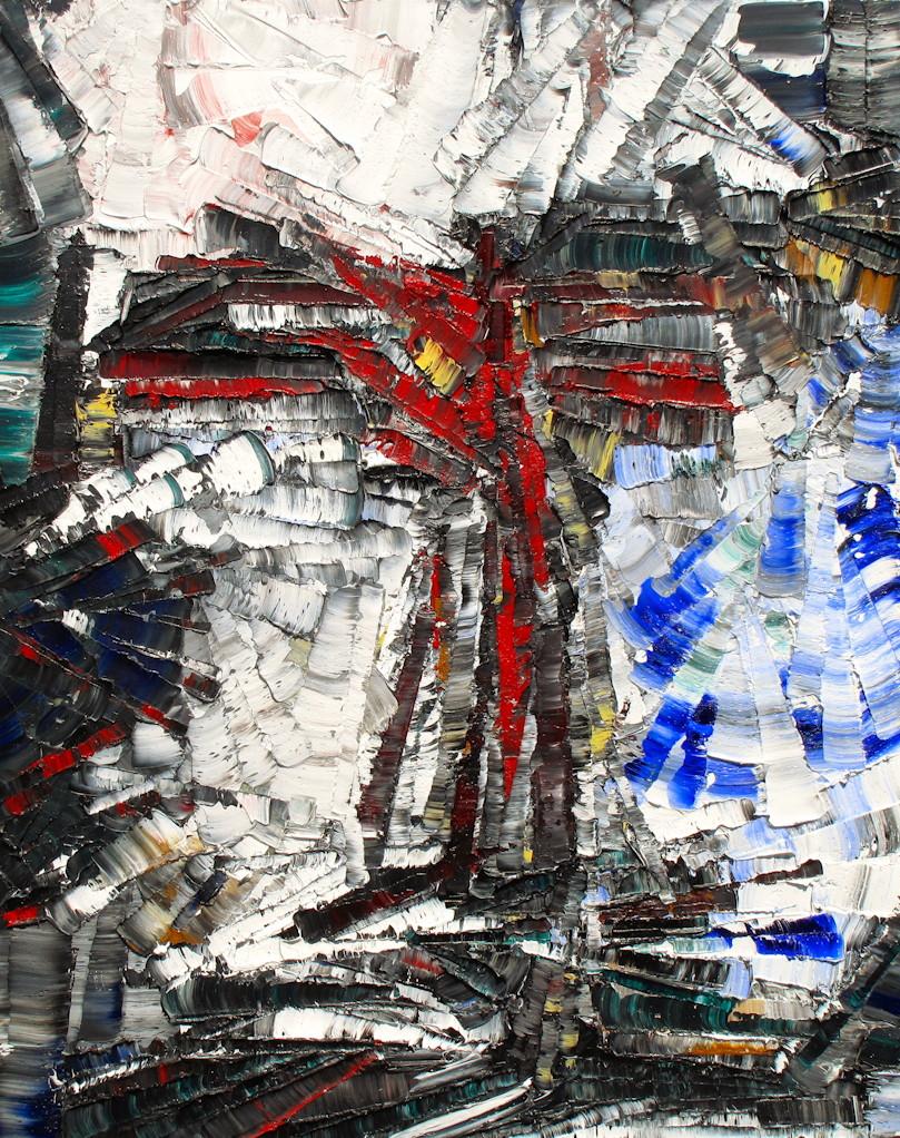 L'oiseau de Feu de Stravinsky - heavy textured sculptural oil painting by artist Louis-Bernard St-Jean