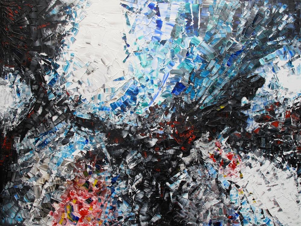 Corail - heavy textured sculptural oil painting by artist Louis-Bernard St-Jean