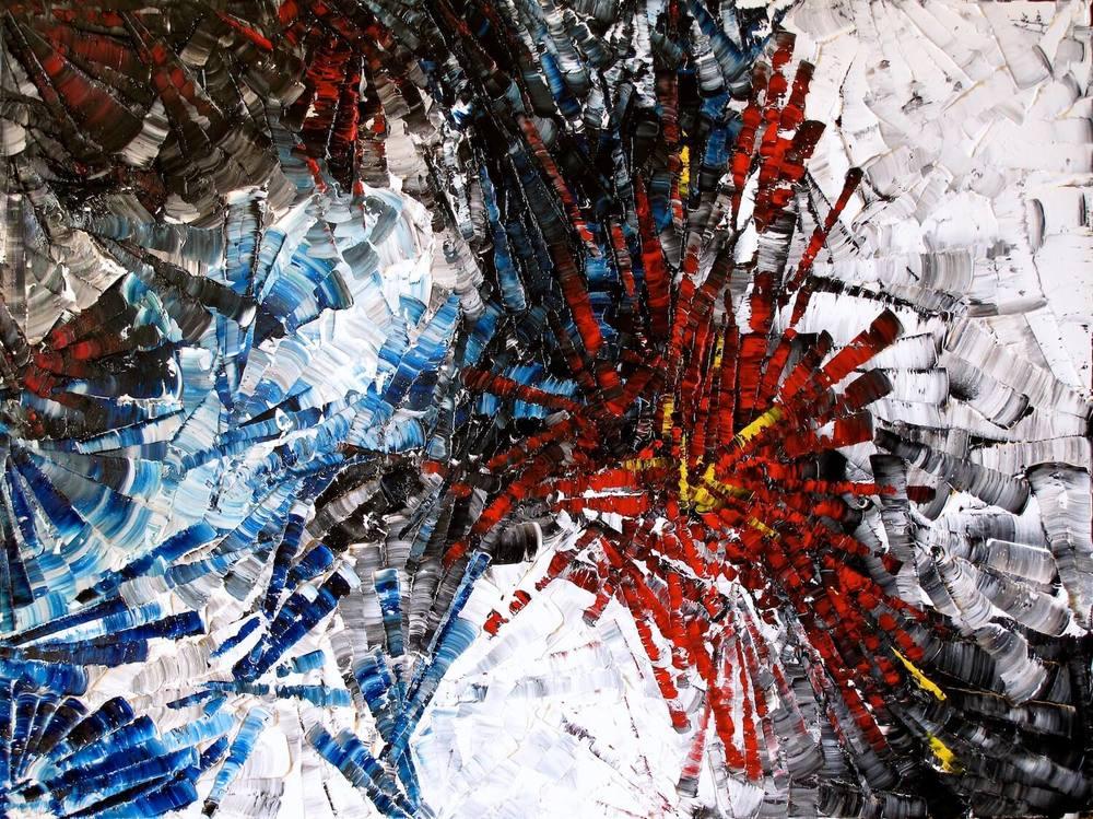 Oursins - heavy textured sculptural oil painting by artist Louis-Bernard St-Jean