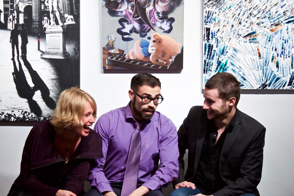 Les trois artistes émergents montréalais : Denise Buisman Pilger, Jono Doiron et Louis-Bernard St-Jean